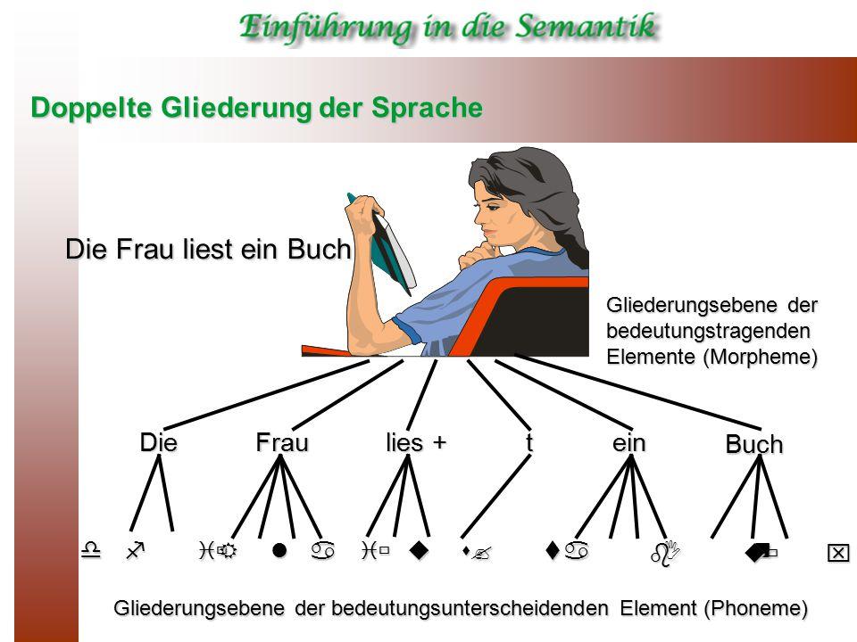 Doppelte Gliederung der Sprache DieFrau lies + tein Buch d i  f R a u ? a I n l i  s t b u  x Die Frau liest ein Buch Gliederungsebene der bedeutun