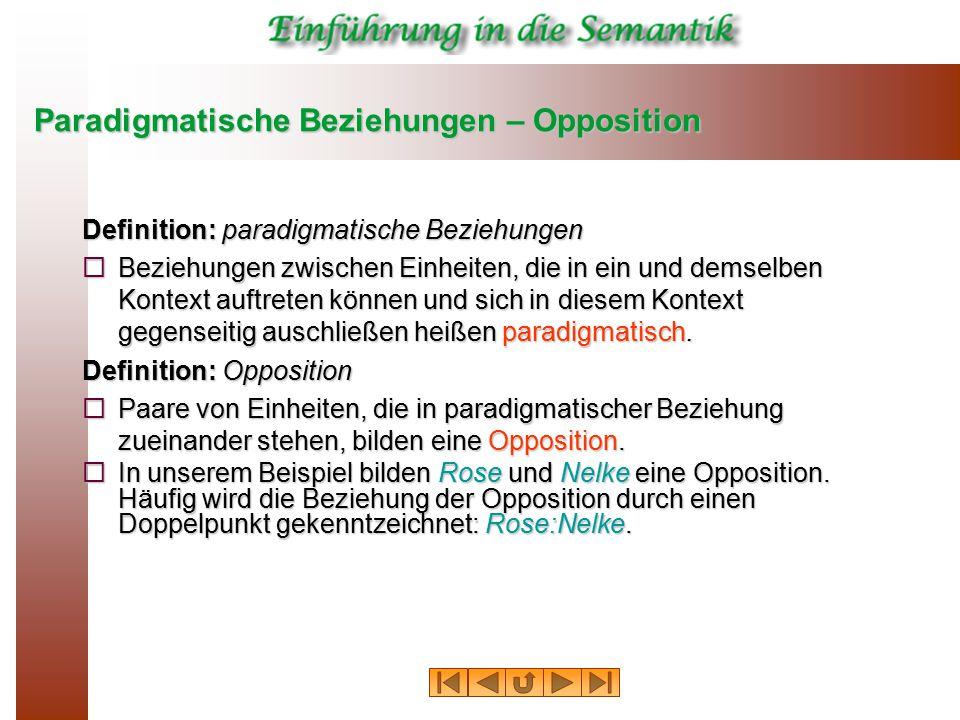 Paradigmatische Beziehungen – Opposition Definition: paradigmatische Beziehungen  Beziehungen zwischen Einheiten, die in ein und demselben Kontext au