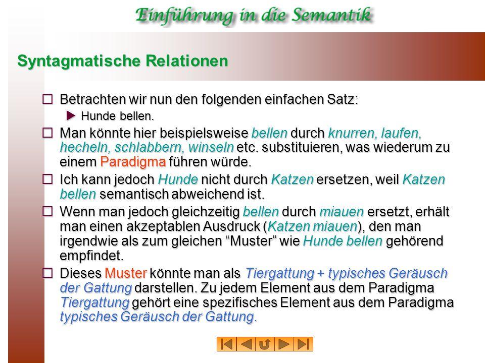 Syntagmatische Relationen  Betrachten wir nun den folgenden einfachen Satz:  Hunde bellen.  Man könnte hier beispielsweise bellen durch knurren, la