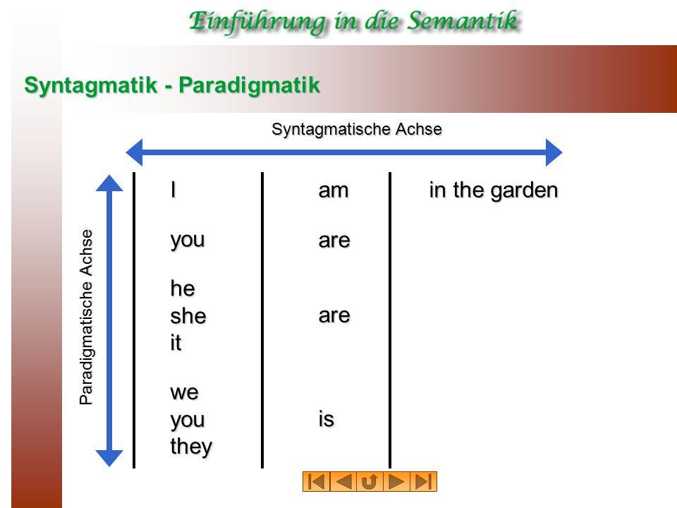 Syntagmatik - Paradigmatik I you hesheit weyouthey am are is are in the garden Syntagmatische Achse Paradigmatische Achse