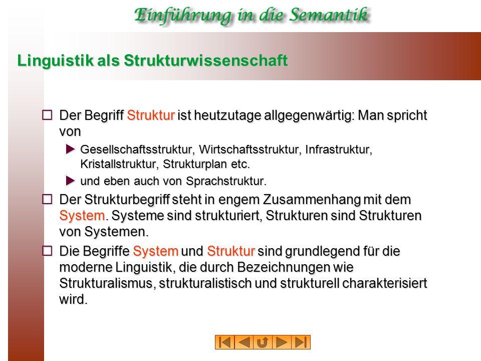 Linguistik als Strukturwissenschaft  Der Begriff Struktur ist heutzutage allgegenwärtig: Man spricht von  Gesellschaftsstruktur, Wirtschaftsstruktur