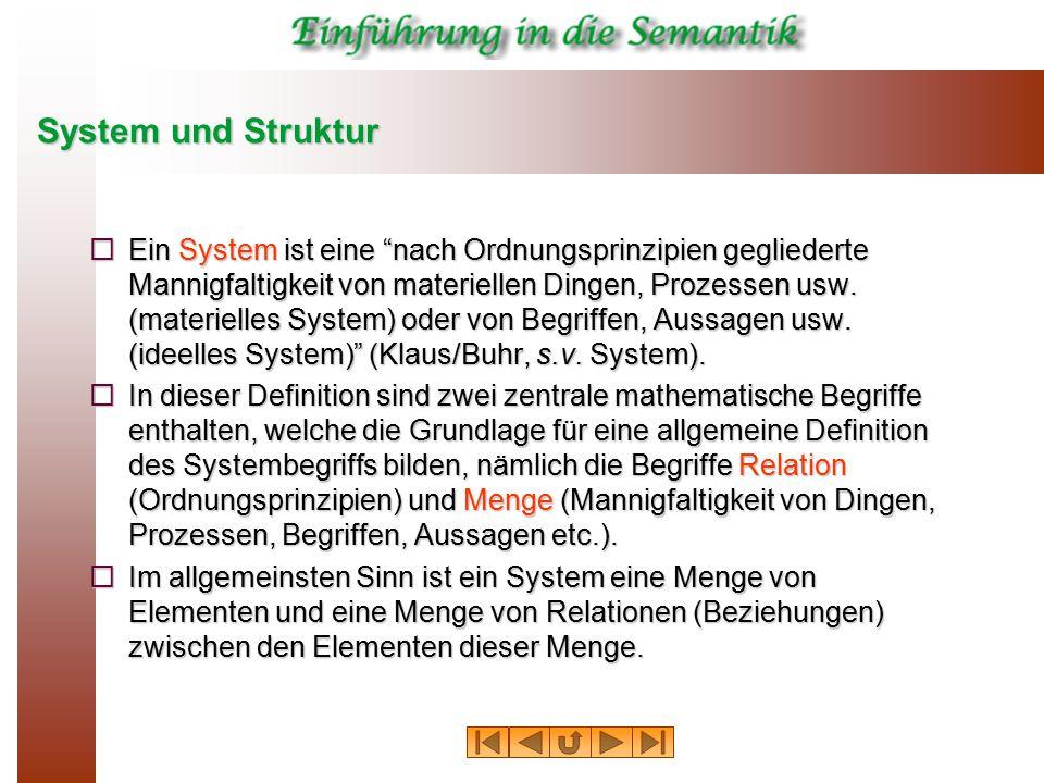 """System und Struktur  Ein System ist eine """"nach Ordnungsprinzipien gegliederte Mannigfaltigkeit von materiellen Dingen, Prozessen usw. (materielles Sy"""