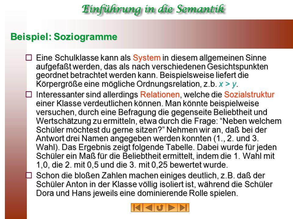 Beispiel: Soziogramme  Eine Schulklasse kann als System in diesem allgemeinen Sinne aufgefaßt werden, das als nach verschiedenen Gesichtspunkten geor