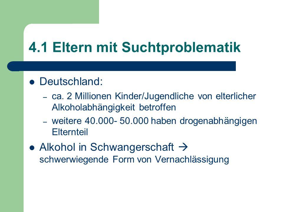 4.1 Eltern mit Suchtproblematik Deutschland: – ca. 2 Millionen Kinder/Jugendliche von elterlicher Alkoholabhängigkeit betroffen – weitere 40.000- 50.0