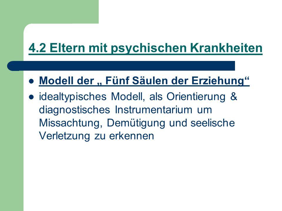 """4.2 Eltern mit psychischen Krankheiten Modell der """" Fünf Säulen der Erziehung"""" idealtypisches Modell, als Orientierung & diagnostisches Instrumentariu"""