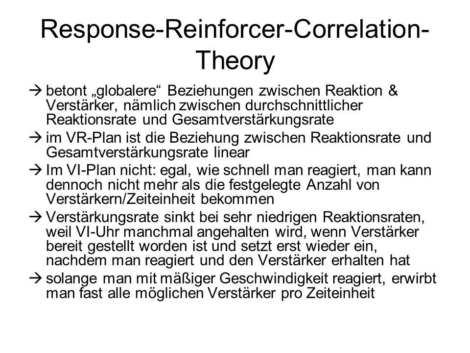 """Response-Reinforcer-Correlation- Theory  betont """"globalere"""" Beziehungen zwischen Reaktion & Verstärker, nämlich zwischen durchschnittlicher Reaktions"""