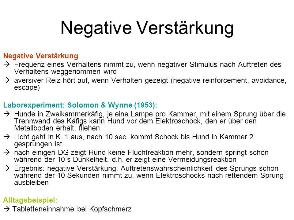 Negative Verstärkung  Frequenz eines Verhaltens nimmt zu, wenn negativer Stimulus nach Auftreten des Verhaltens weggenommen wird  aversiver Reiz hör
