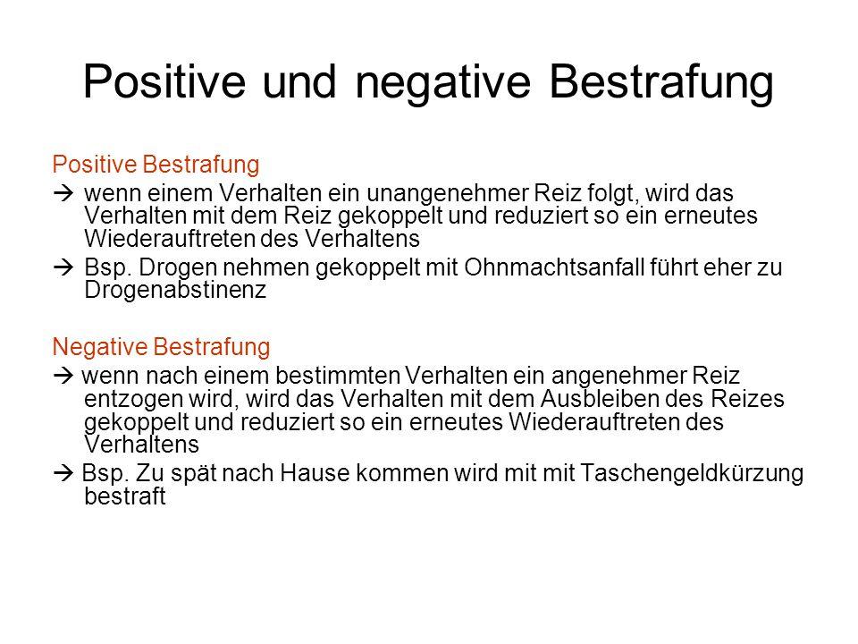 Positive und negative Bestrafung Positive Bestrafung  wenn einem Verhalten ein unangenehmer Reiz folgt, wird das Verhalten mit dem Reiz gekoppelt und