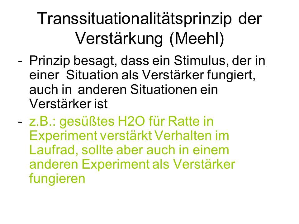 Transsituationalitätsprinzip der Verstärkung (Meehl) -Prinzip besagt, dass ein Stimulus, der in einer Situation als Verstärker fungiert, auch inandere