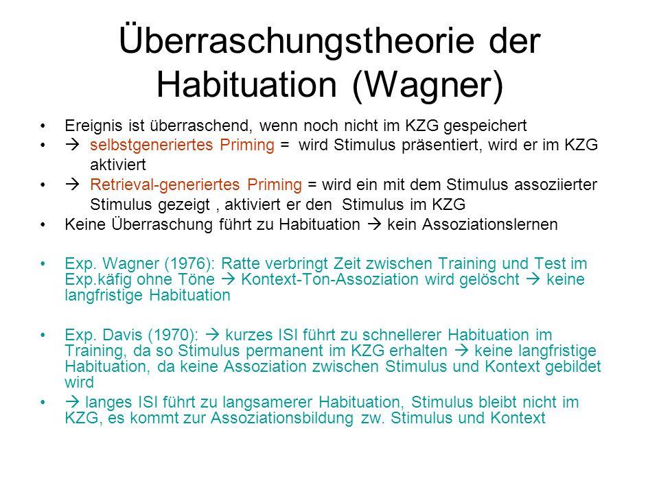 Überraschungstheorie der Habituation (Wagner) Ereignis ist überraschend, wenn noch nicht im KZG gespeichert  selbstgeneriertes Priming = wird Stimulu