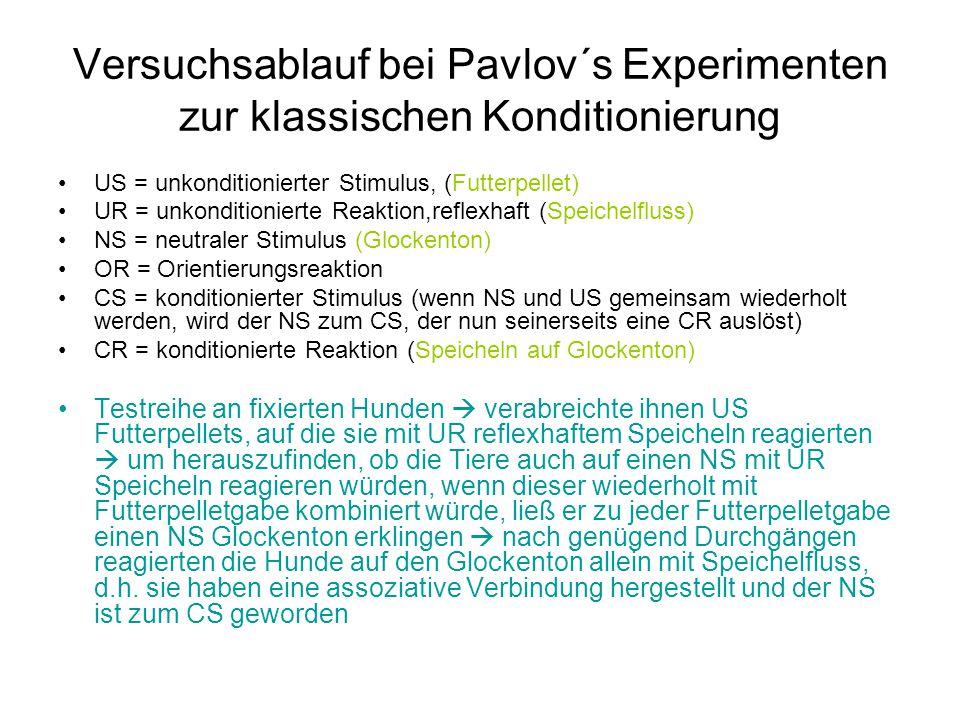 Versuchsablauf bei Pavlov´s Experimenten zur klassischen Konditionierung US = unkonditionierter Stimulus, (Futterpellet) UR = unkonditionierte Reaktio