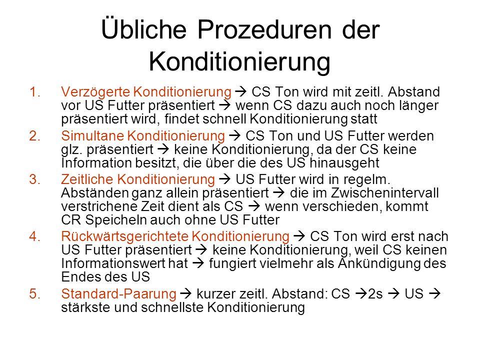 Übliche Prozeduren der Konditionierung 1.Verzögerte Konditionierung  CS Ton wird mit zeitl. Abstand vor US Futter präsentiert  wenn CS dazu auch noc