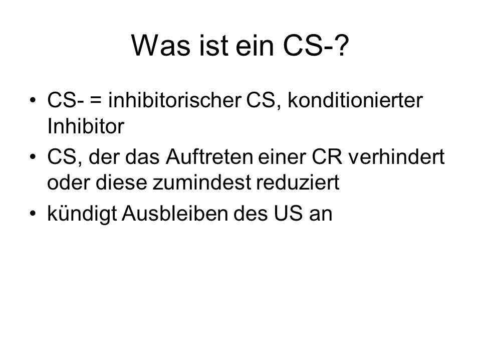 Was ist ein CS-? CS- = inhibitorischer CS, konditionierter Inhibitor CS, der das Auftreten einer CR verhindert oder diese zumindest reduziert kündigt