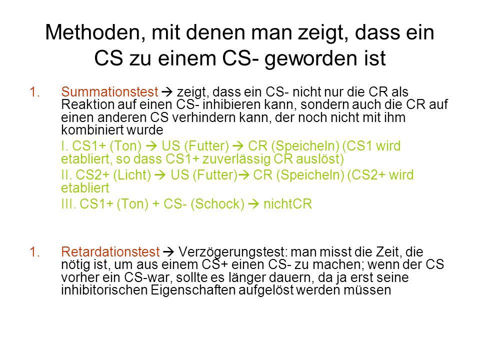 Methoden, mit denen man zeigt, dass ein CS zu einem CS- geworden ist 1.Summationstest  zeigt, dass ein CS- nicht nur die CR als Reaktion auf einen CS