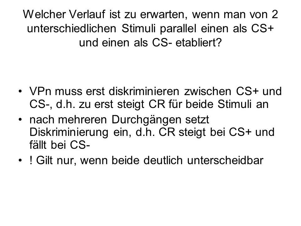 Welcher Verlauf ist zu erwarten, wenn man von 2 unterschiedlichen Stimuli parallel einen als CS+ und einen als CS- etabliert? VPn muss erst diskrimini