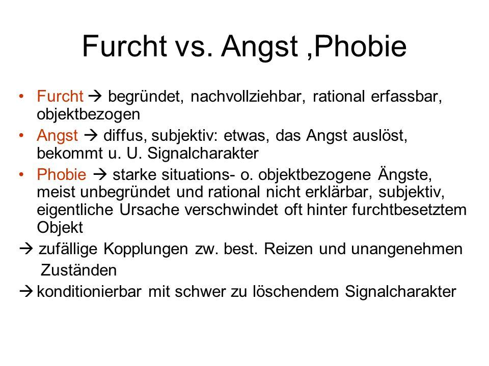 Furcht vs. Angst,Phobie Furcht  begründet, nachvollziehbar, rational erfassbar, objektbezogen Angst  diffus, subjektiv: etwas, das Angst auslöst, be