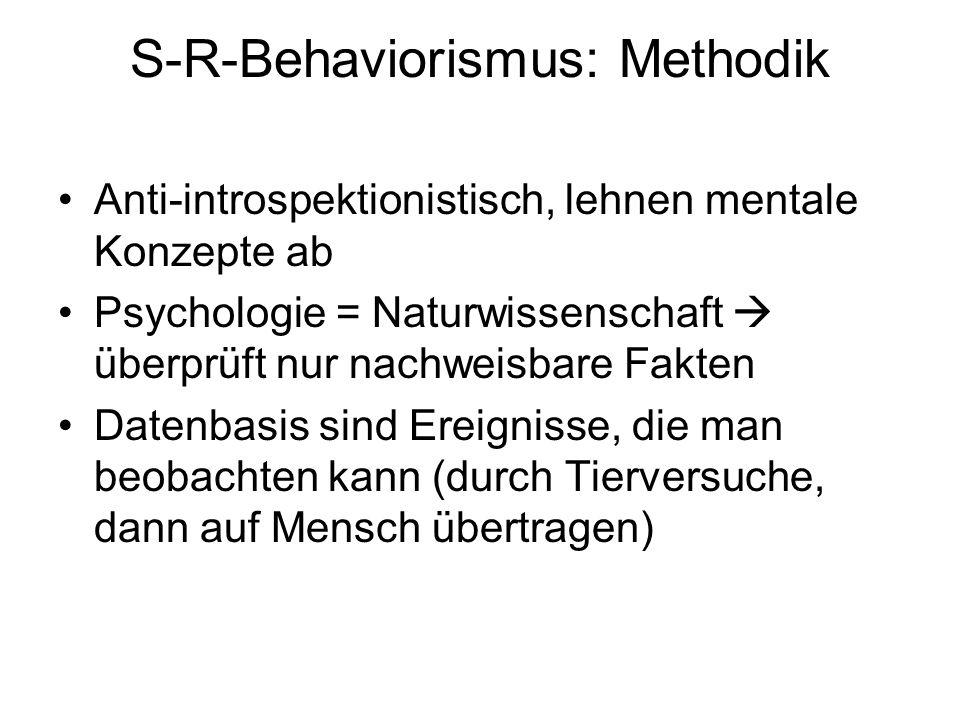 S-R-Behaviorismus: Methodik Anti-introspektionistisch, lehnen mentale Konzepte ab Psychologie = Naturwissenschaft  überprüft nur nachweisbare Fakten