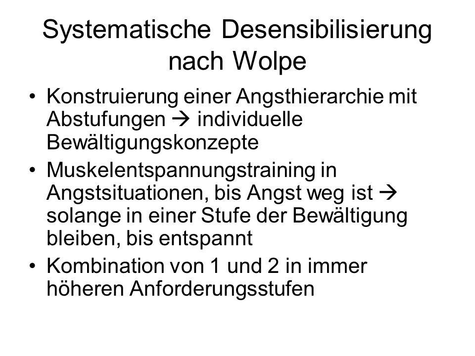 Systematische Desensibilisierung nach Wolpe Konstruierung einer Angsthierarchie mit Abstufungen  individuelle Bewältigungskonzepte Muskelentspannungs