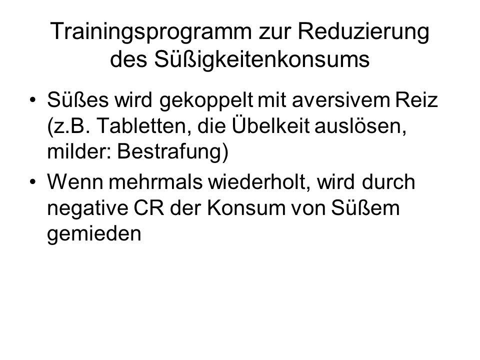 Trainingsprogramm zur Reduzierung des Süßigkeitenkonsums Süßes wird gekoppelt mit aversivem Reiz (z.B. Tabletten, die Übelkeit auslösen, milder: Bestr