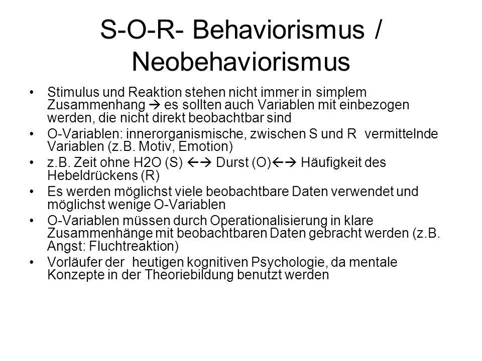 S-O-R- Behaviorismus / Neobehaviorismus Stimulus und Reaktion stehen nicht immer in simplem Zusammenhang  es sollten auch Variablen mit einbezogen we