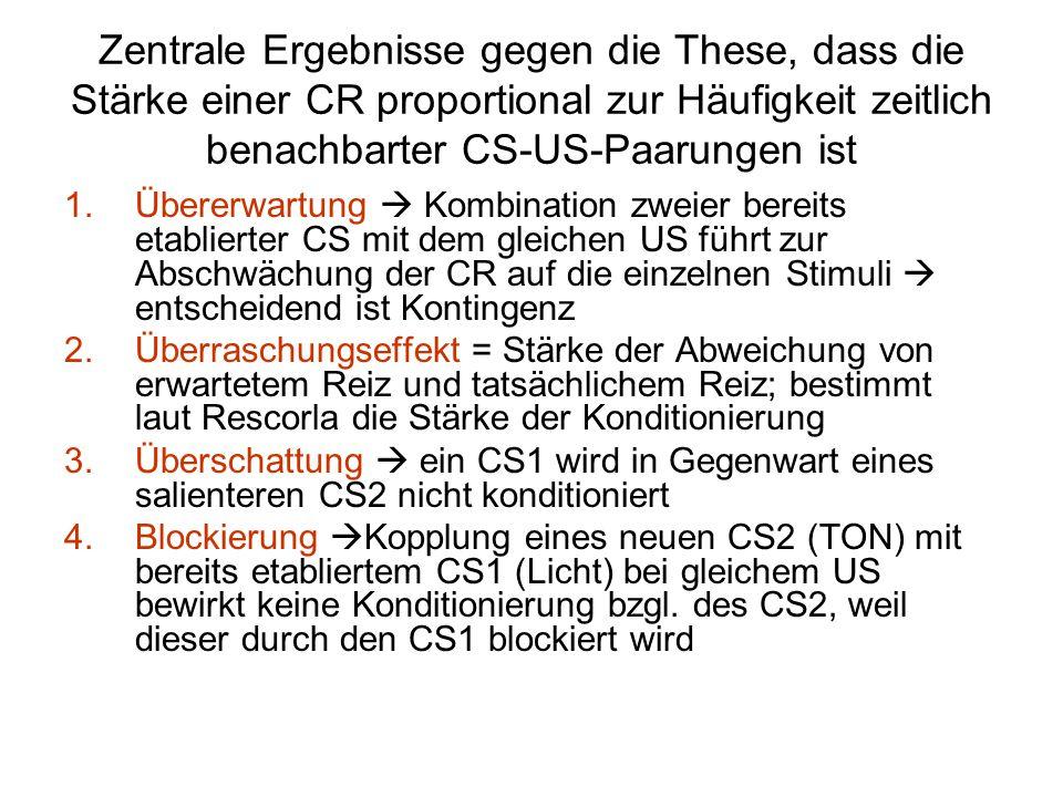 Zentrale Ergebnisse gegen die These, dass die Stärke einer CR proportional zur Häufigkeit zeitlich benachbarter CS-US-Paarungen ist 1.Übererwartung 