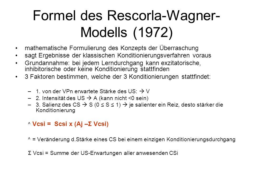 Formel des Rescorla-Wagner- Modells (1972) mathematische Formulierung des Konzepts der Überraschung sagt Ergebnisse der klassischen Konditionierungsve