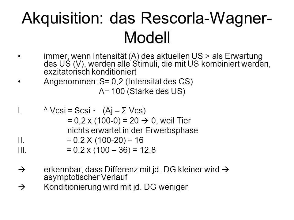 Akquisition: das Rescorla-Wagner- Modell immer, wenn Intensität (A) des aktuellen US > als Erwartung des US (V), werden alle Stimuli, die mit US kombi