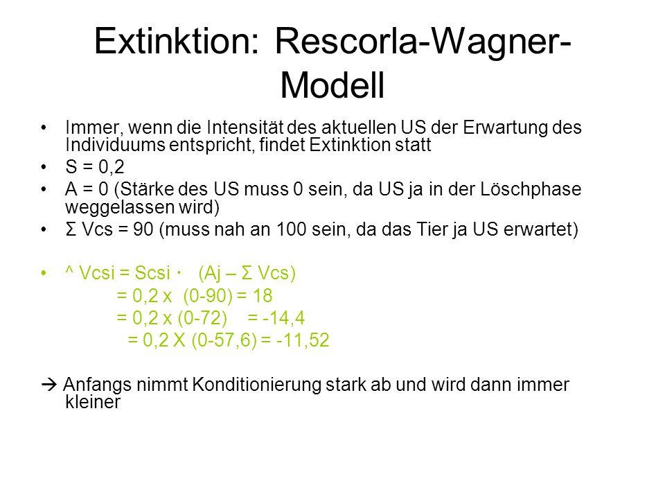 Extinktion: Rescorla-Wagner- Modell Immer, wenn die Intensität des aktuellen US der Erwartung des Individuums entspricht, findet Extinktion statt S =