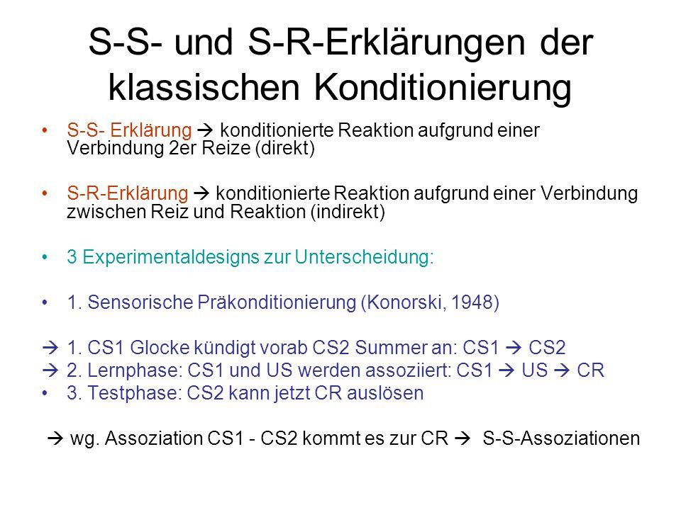 S-S- und S-R-Erklärungen der klassischen Konditionierung S-S- Erklärung  konditionierte Reaktion aufgrund einer Verbindung 2er Reize (direkt) S-R-Erk
