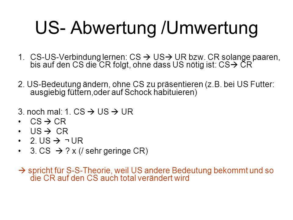 US- Abwertung /Umwertung 1.CS-US-Verbindung lernen: CS  US  UR bzw. CR solange paaren, bis auf den CS die CR folgt, ohne dass US nötig ist: CS  CR