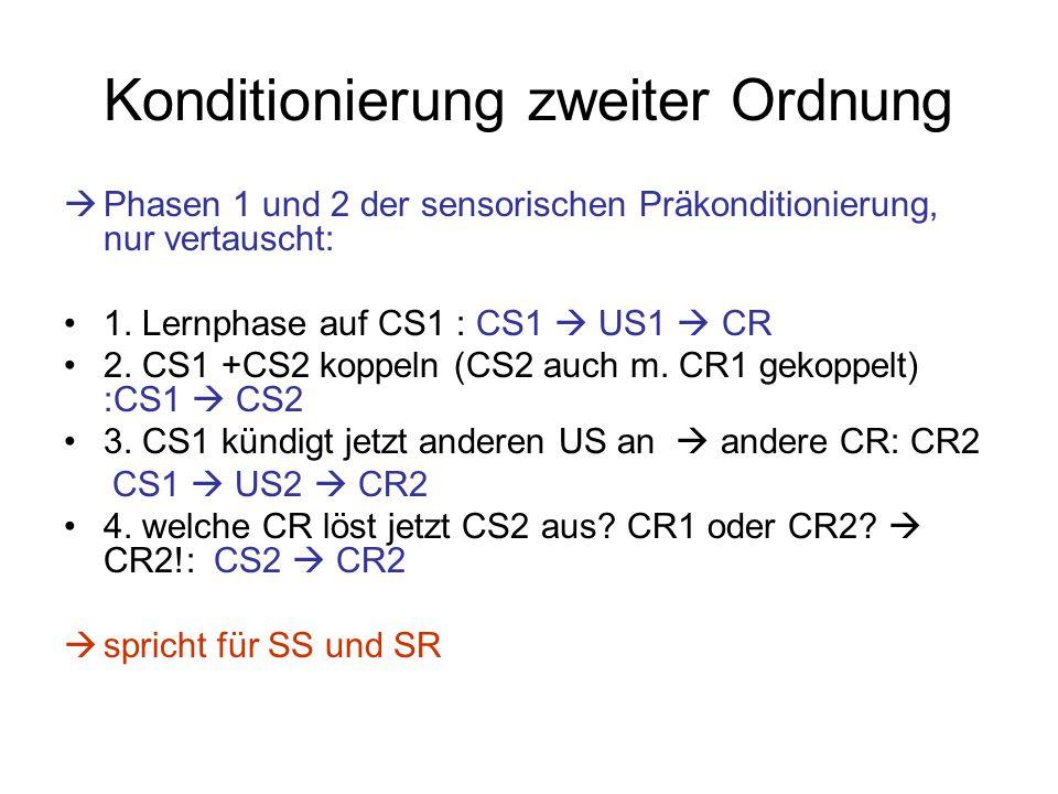 Konditionierung zweiter Ordnung  Phasen 1 und 2 der sensorischen Präkonditionierung, nur vertauscht: 1. Lernphase auf CS1 : CS1  US1  CR 2. CS1 +CS