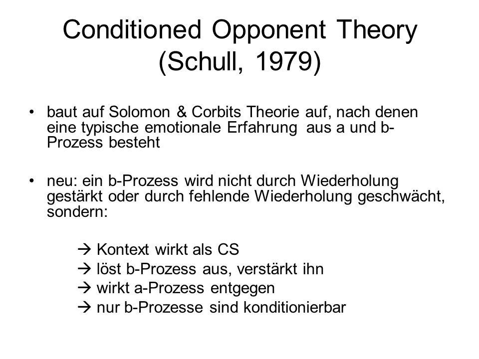 Conditioned Opponent Theory (Schull, 1979) baut auf Solomon & Corbits Theorie auf, nach denen eine typische emotionale Erfahrung aus a und b- Prozess
