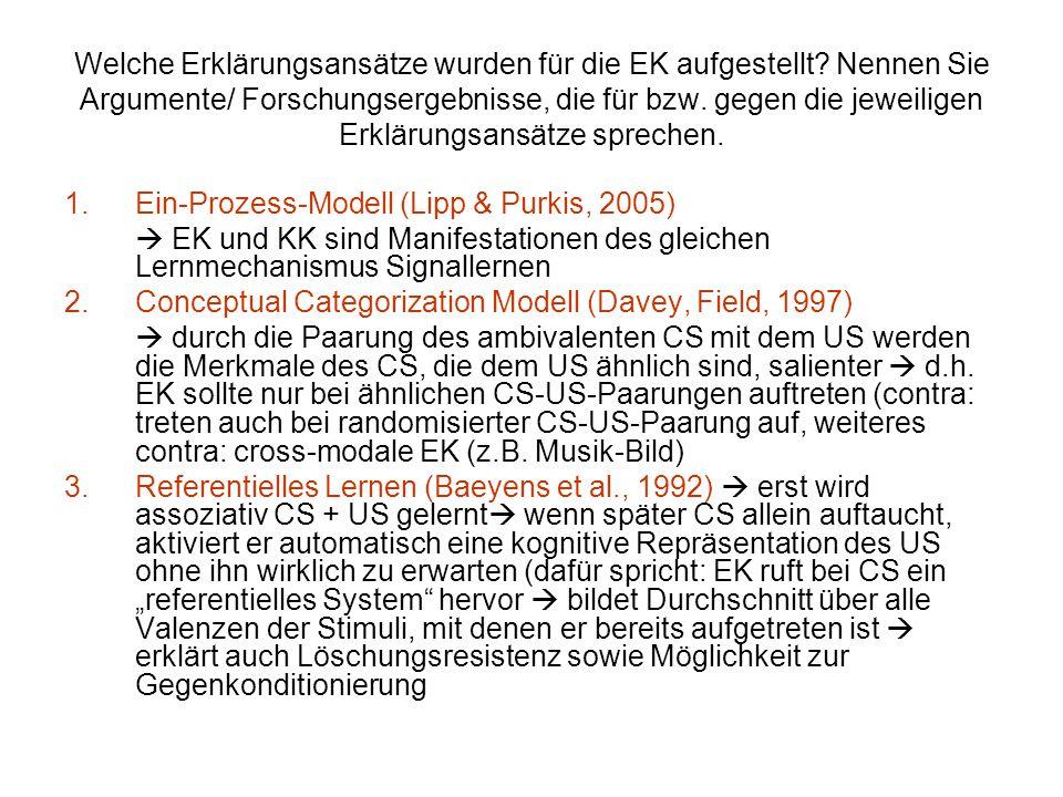 Welche Erklärungsansätze wurden für die EK aufgestellt? Nennen Sie Argumente/ Forschungsergebnisse, die für bzw. gegen die jeweiligen Erklärungsansätz