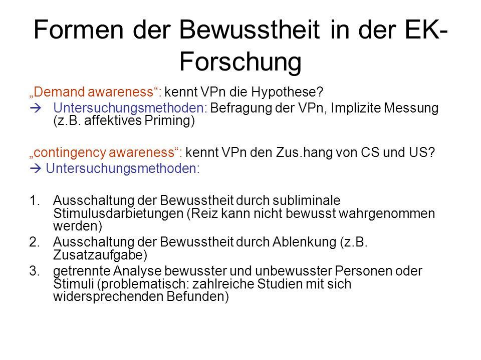 """Formen der Bewusstheit in der EK- Forschung """"Demand awareness"""": kennt VPn die Hypothese?  Untersuchungsmethoden: Befragung der VPn, Implizite Messung"""