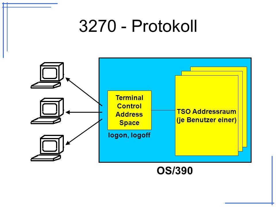 3270 - Protokoll OS/390 TSO Addressraum (je Benutzer einer) Terminal Control Address Space logon, logoff