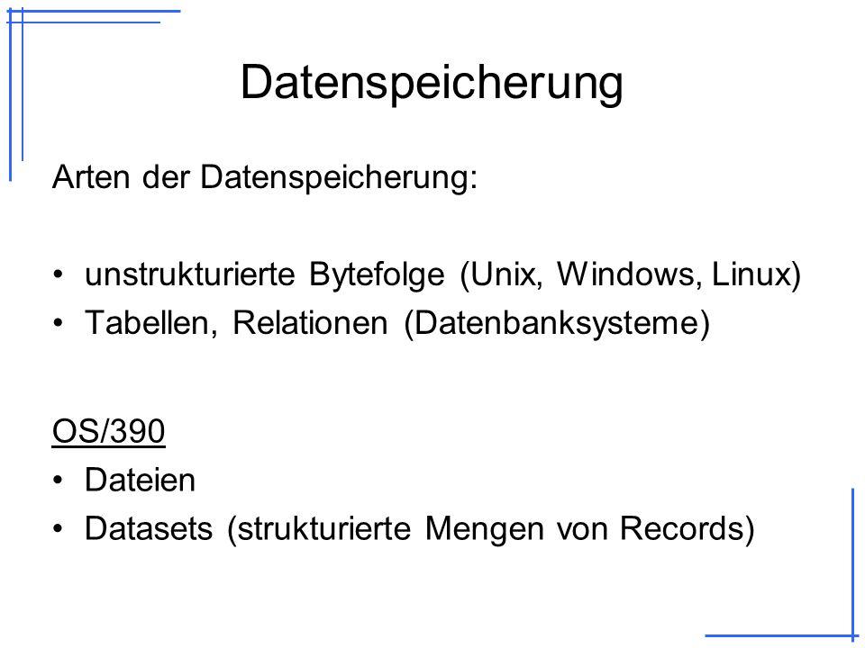 Datenspeicherung Arten der Datenspeicherung: unstrukturierte Bytefolge (Unix, Windows, Linux) Tabellen, Relationen (Datenbanksysteme) OS/390 Dateien Datasets (strukturierte Mengen von Records)