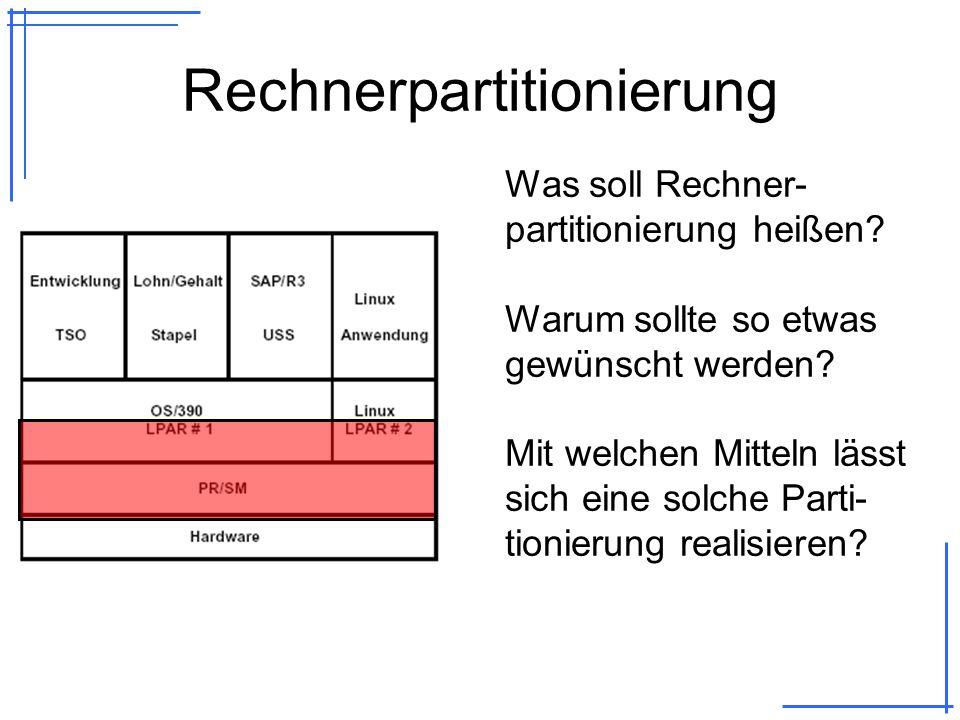 Mögliche Arten der Partitionierung PR/SM und LPARs –Process Resource / System Manager –Logical Partitions –Hardwareseitig mittels LIC implementiert VM/390 bzw.
