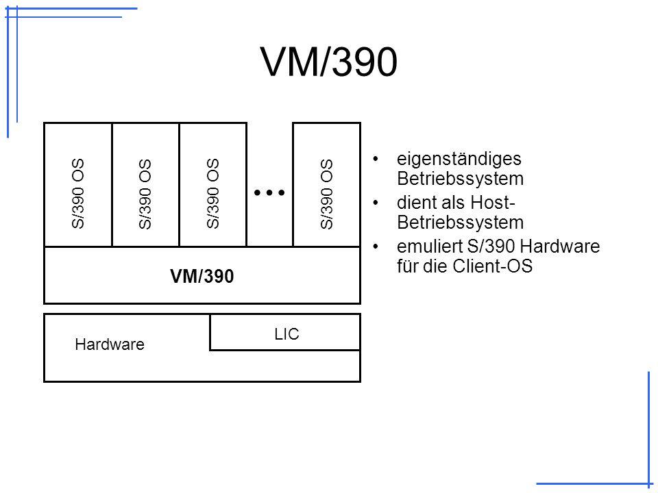 VM/390 eigenständiges Betriebssystem dient als Host- Betriebssystem emuliert S/390 Hardware für die Client-OS LIC Hardware VM/390 S/390 OS …