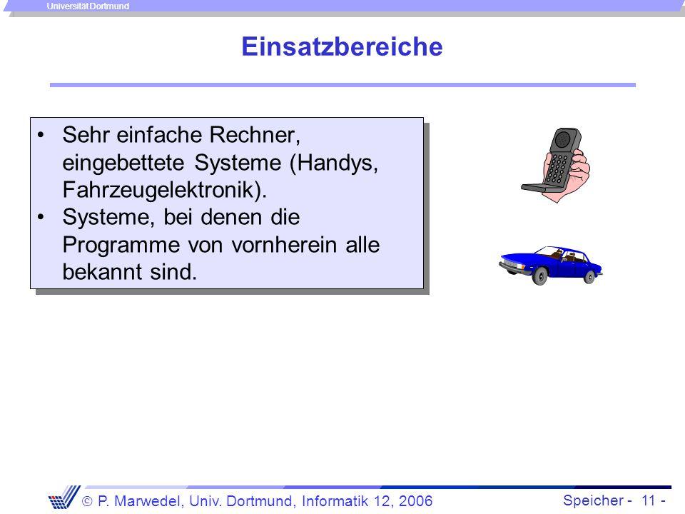 Speicher - 11 -  P. Marwedel, Univ. Dortmund, Informatik 12, 2006 Universität Dortmund Einsatzbereiche Sehr einfache Rechner, eingebettete Systeme (H