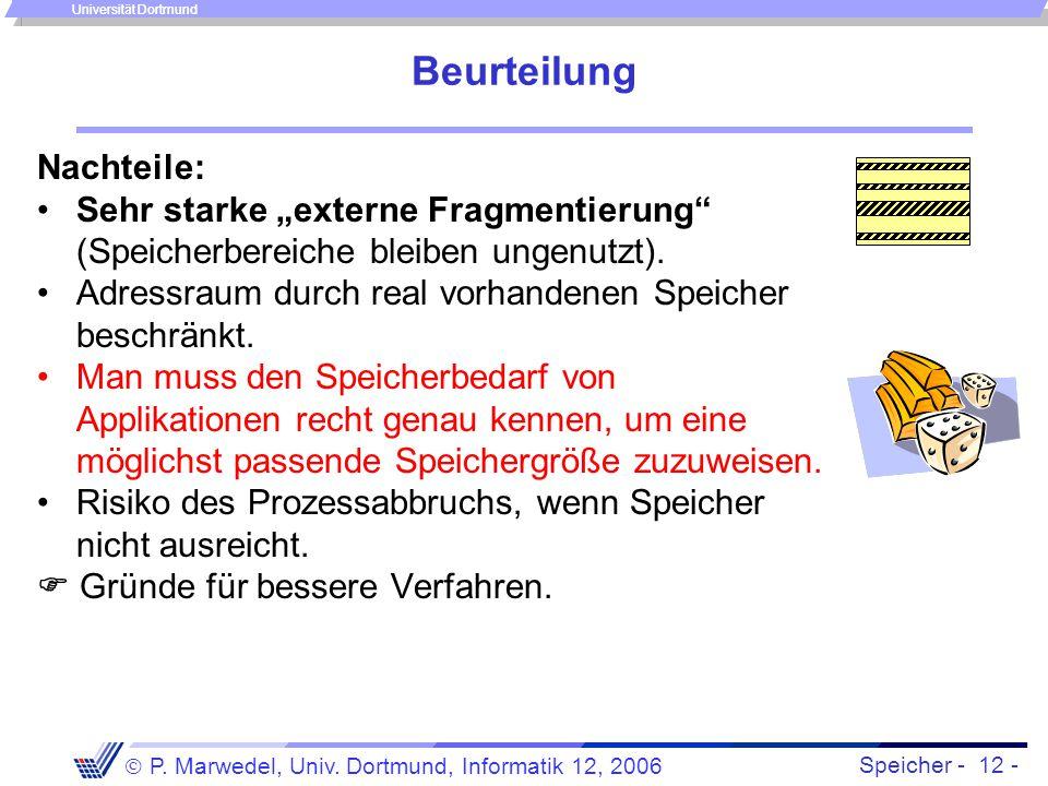 """Speicher - 12 -  P. Marwedel, Univ. Dortmund, Informatik 12, 2006 Universität Dortmund Beurteilung Nachteile: Sehr starke """"externe Fragmentierung"""" (S"""