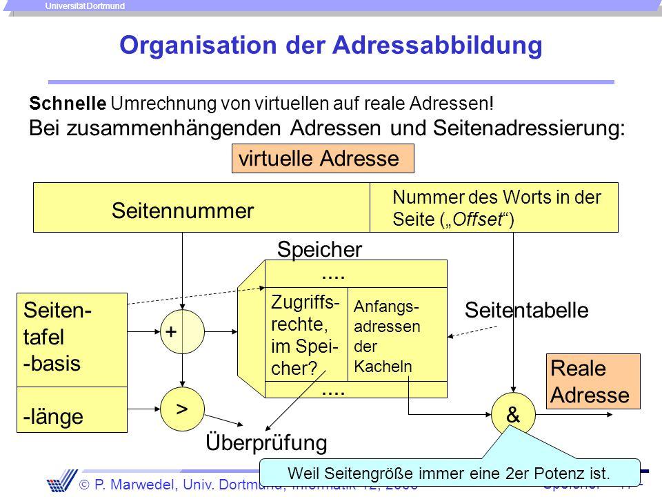 Speicher - 17 -  P. Marwedel, Univ. Dortmund, Informatik 12, 2006 Universität Dortmund Organisation der Adressabbildung Schnelle Umrechnung von virtu