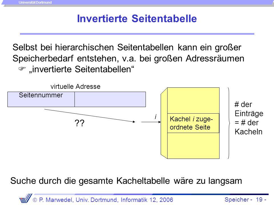 Speicher - 19 -  P. Marwedel, Univ. Dortmund, Informatik 12, 2006 Universität Dortmund Invertierte Seitentabelle Selbst bei hierarchischen Seitentabe