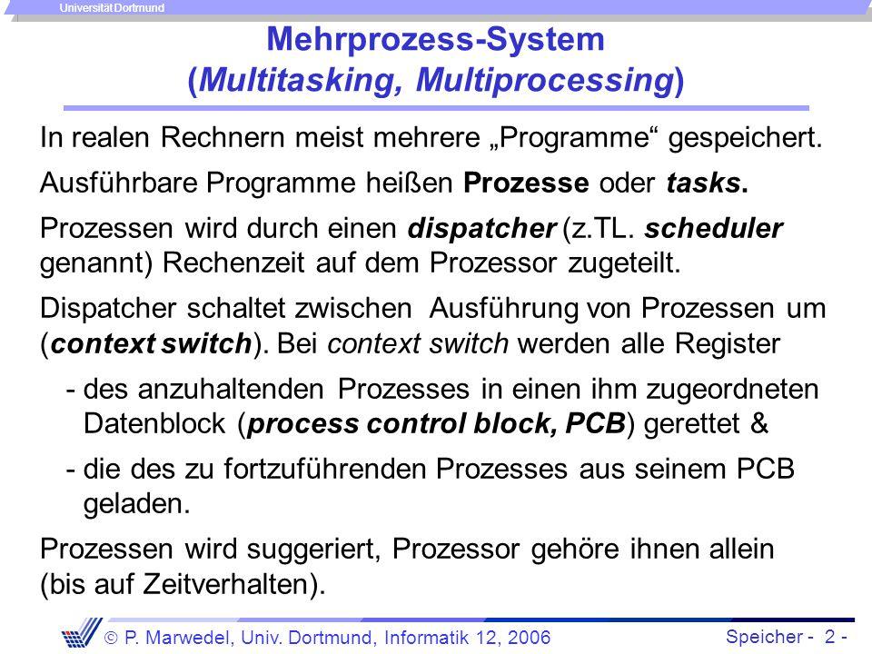 Speicher - 2 -  P. Marwedel, Univ. Dortmund, Informatik 12, 2006 Universität Dortmund Mehrprozess-System (Multitasking, Multiprocessing) In realen Re