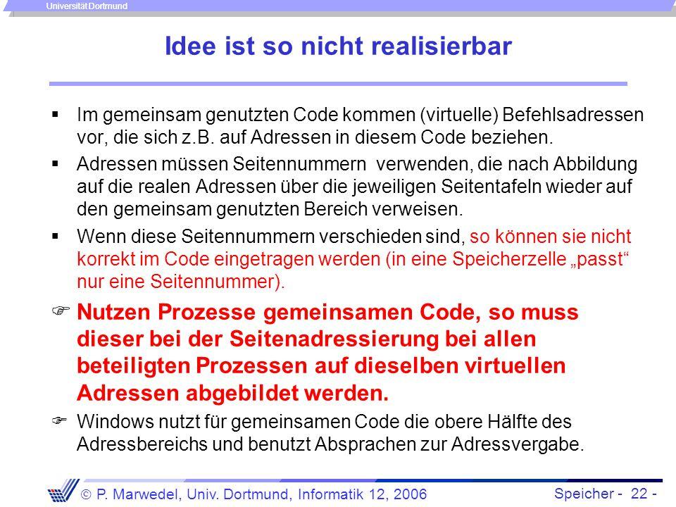 Speicher - 22 -  P. Marwedel, Univ. Dortmund, Informatik 12, 2006 Universität Dortmund Idee ist so nicht realisierbar  Im gemeinsam genutzten Code k