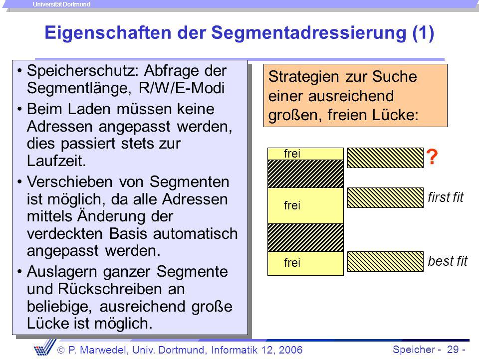 Speicher - 29 -  P. Marwedel, Univ. Dortmund, Informatik 12, 2006 Universität Dortmund Eigenschaften der Segmentadressierung (1) Speicherschutz: Abfr