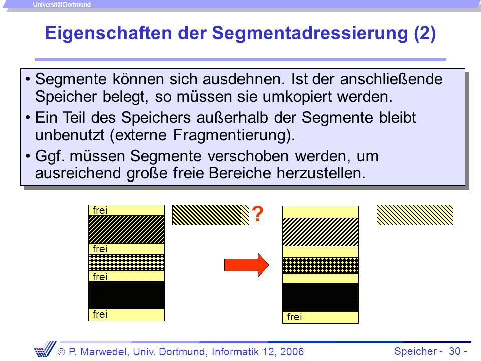Speicher - 30 -  P. Marwedel, Univ. Dortmund, Informatik 12, 2006 Universität Dortmund Eigenschaften der Segmentadressierung (2) Segmente können sich