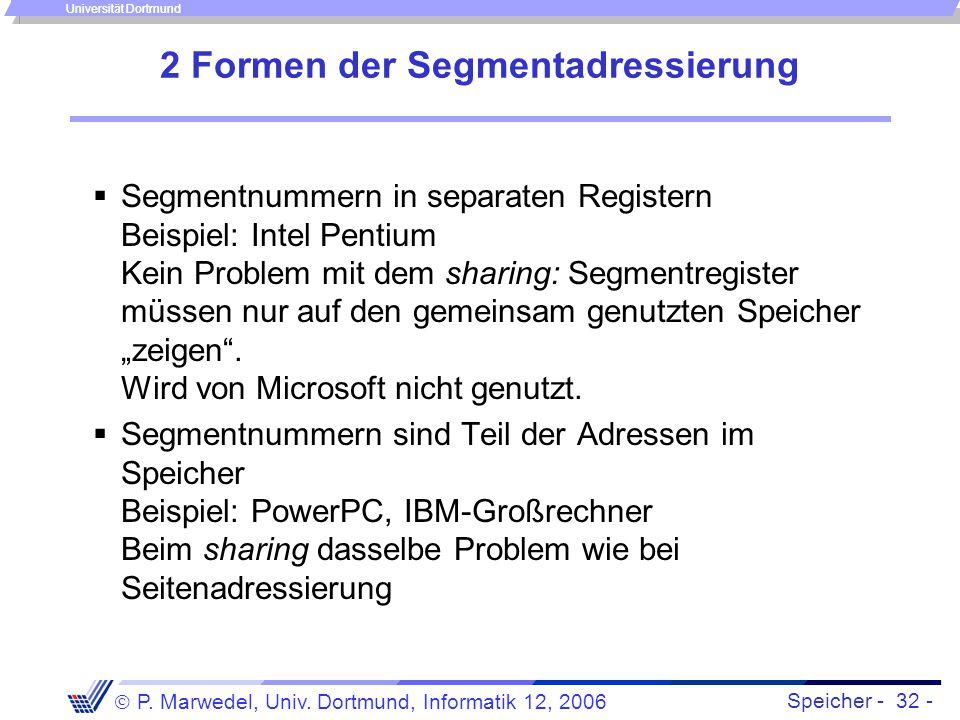 Speicher - 32 -  P. Marwedel, Univ. Dortmund, Informatik 12, 2006 Universität Dortmund 2 Formen der Segmentadressierung  Segmentnummern in separaten