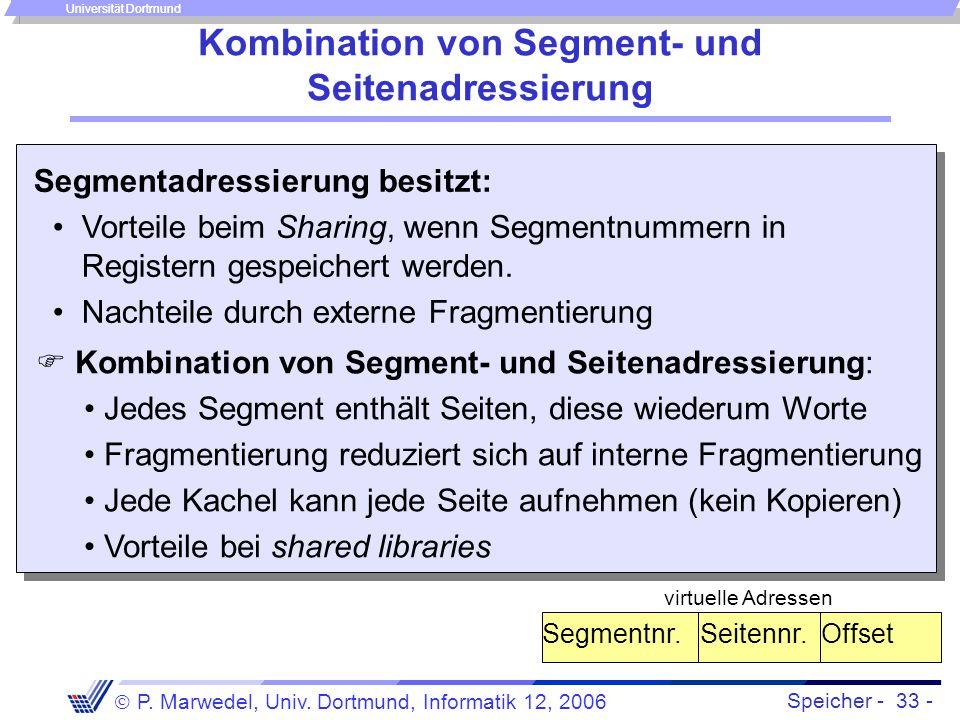 Speicher - 33 -  P. Marwedel, Univ. Dortmund, Informatik 12, 2006 Universität Dortmund Kombination von Segment- und Seitenadressierung Segmentadressi