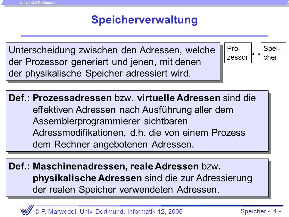 Speicher - 4 -  P. Marwedel, Univ. Dortmund, Informatik 12, 2006 Universität Dortmund Speicherverwaltung Unterscheidung zwischen den Adressen, welche