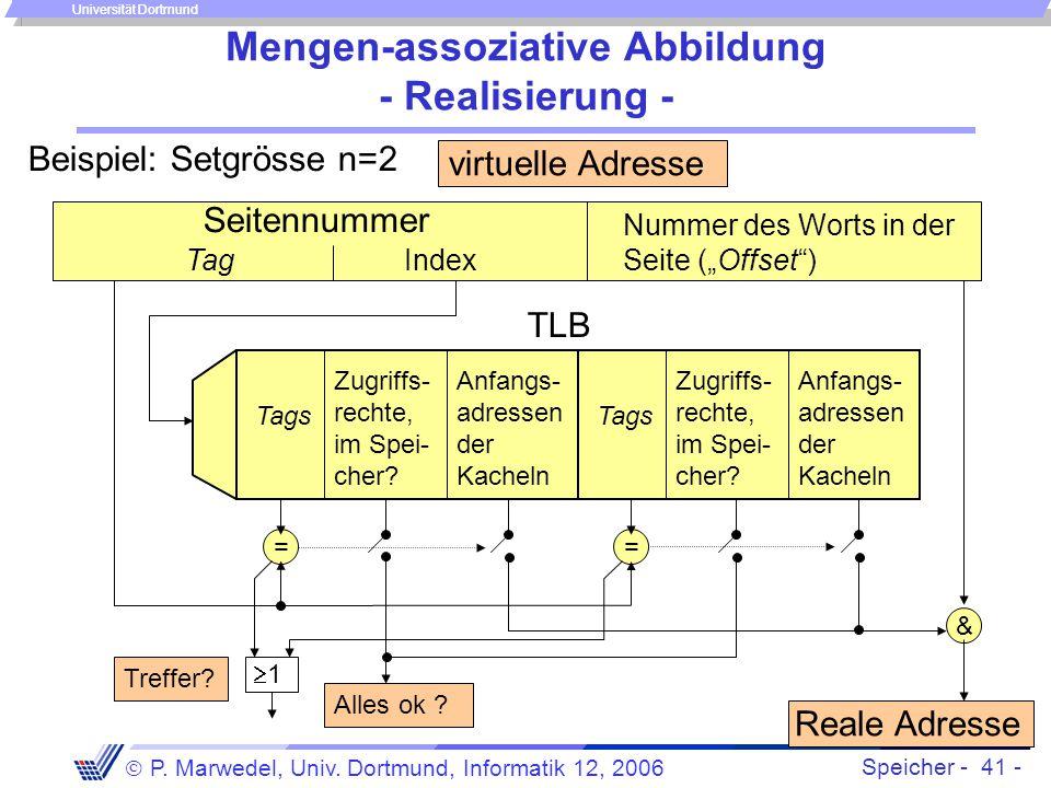 Speicher - 41 -  P. Marwedel, Univ. Dortmund, Informatik 12, 2006 Universität Dortmund Mengen-assoziative Abbildung - Realisierung - virtuelle Adress
